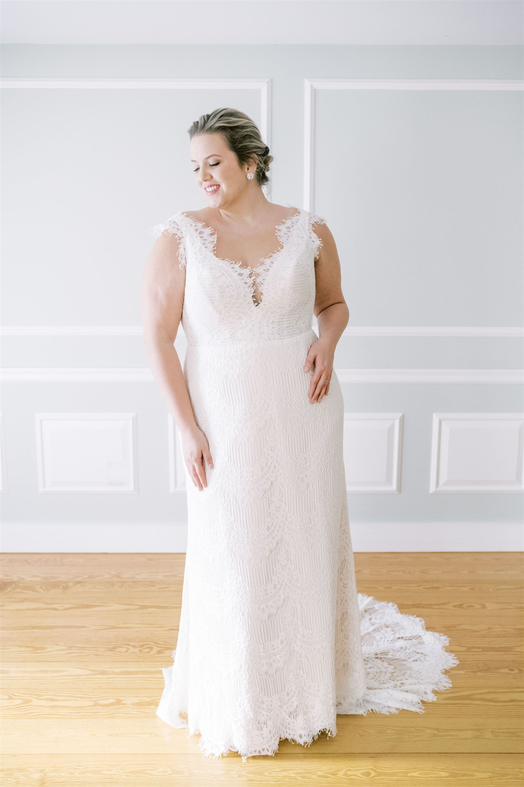 Model wearing a Plus Size Collection Gown